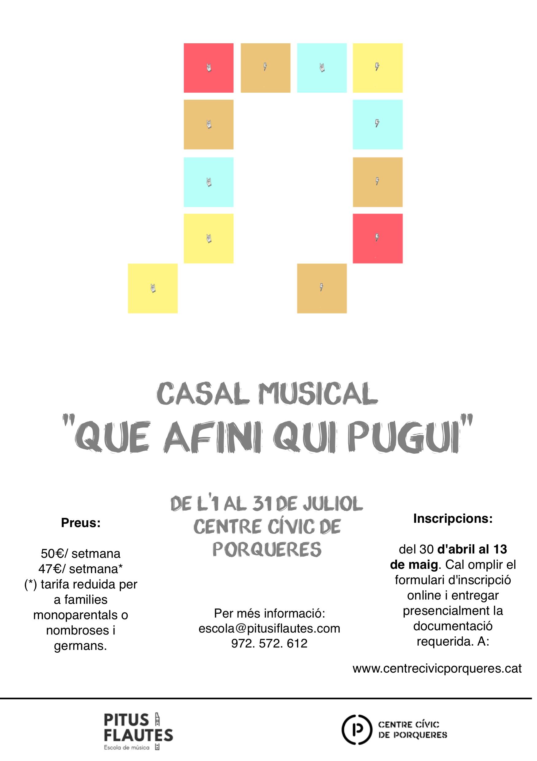 L'escola de música Pitus i Flautes organitza un casal d'estiu al Centre Cívic de Porqueres